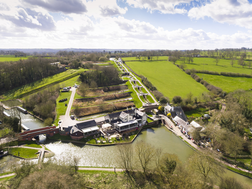 Drone photo of Foxton Locks